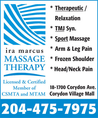 Marcus Ira Massage Therapy (204-475-7975) - Display Ad