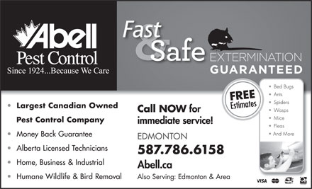 Abell Pest Control Inc (1-888-949-4949) - Display Ad