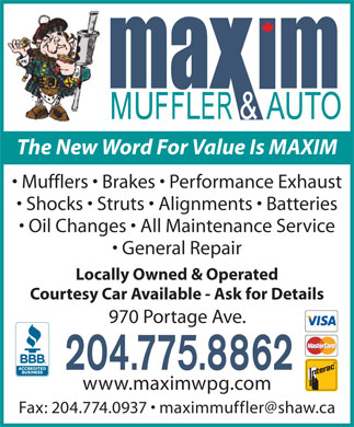 Maxim Muffler & Auto (204-775-8862) - Display Ad