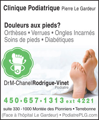 Clinique Podiatrique Pierre Legardeur (450-657-1313) - Annonce illustr&eacute;e