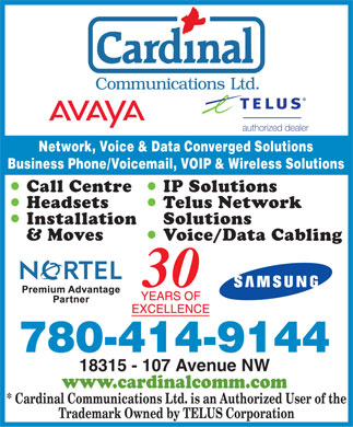 Cardinal Communications Ltd (780-613-0275) - Display Ad