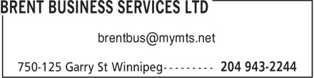 Brent Business Services Ltd (204-943-2244) - Annonce illustrée - brentbus@mymts.net