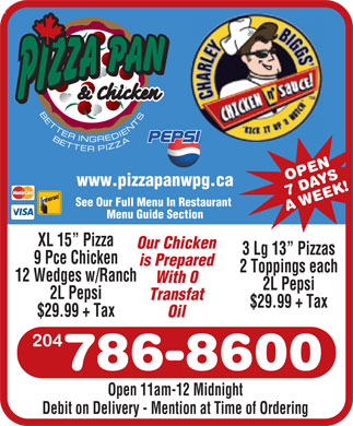 Pizza Pan and Charley Biggs (204-786-8600) - Annonce illustrée