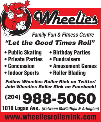 Wheelies Family Roller Centres Inc (204-988-5060) - Display Ad