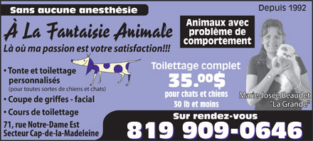 &Agrave; La Fantaisie Animale (819-909-0646) - Annonce illustr&eacute;e - Depuis 1992 Sans aucune anesth&eacute;sie Animaux avec probl&egrave;me de &Agrave; La Fantaisie Animale comportement L&agrave; o&ugrave; ma passion est votre satisfaction!!! Toilettage complet Tonte et toilettage 00 personnalis&eacute;s 35.$ (pour toutes sortes de chiens et chats) pour chats et chiens Marie-Jos&eacute;e Beaudet Coupe de griffes - facial &quot;La Grande&quot; 30 lb et moins Cours de toilettage Sur rendez-vous