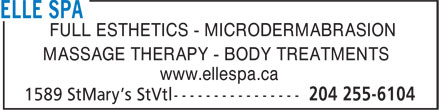 My El Spa (204-255-6104) - Annonce illustrée - FULL ESTHETICS - MICRODERMABRASION MASSAGE THERAPY - BODY TREATMENTS www.ellespa.ca