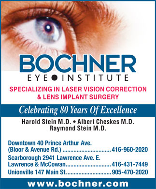 Bochner Eye Institute (416-960-2020) - Annonce illustrée