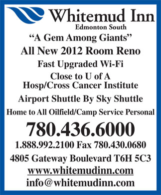 Whitemud Inn Edmonton South (780-436-6000) - Annonce illustr&eacute;e
