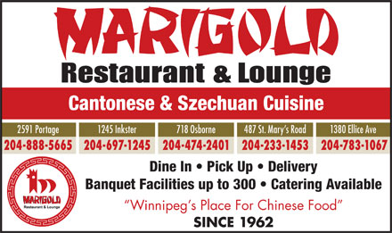 Marigold Restaurants (204-233-1453) - Annonce illustr&eacute;e
