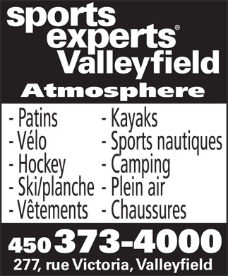 Sports Experts - Atmosphere (450-373-4000) - Annonce illustrée