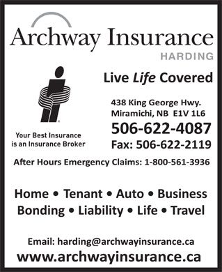 Archway Insurance-Harding (506-622-4087) - Display Ad