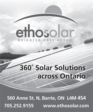 EthoSolar (705-252-9155) - Display Ad - 360° Solar Solutions across Ontario 560 Anne St. N, Barrie, ON  L4M 4S4 705.252.9155       www.ethosolar.com  360° Solar Solutions across Ontario 560 Anne St. N, Barrie, ON  L4M 4S4 705.252.9155       www.ethosolar.com  360° Solar Solutions across Ontario 560 Anne St. N, Barrie, ON  L4M 4S4 705.252.9155       www.ethosolar.com  360° Solar Solutions across Ontario 560 Anne St. N, Barrie, ON  L4M 4S4 705.252.9155       www.ethosolar.com