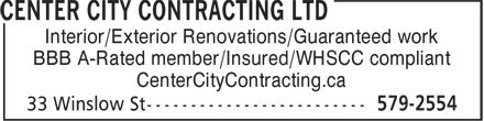 Center City Contracting Ltd (709-579-2554) - Annonce illustrée - Interior/Exterior Renovations/Guaranteed work BBB A-Rated member/Insured/WHSCC compliant CenterCityContracting.ca
