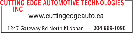 Cutting Edge Automotive Technologies Inc (204-669-1090) - Annonce illustrée - www.cuttingedgeauto.ca  www.cuttingedgeauto.ca