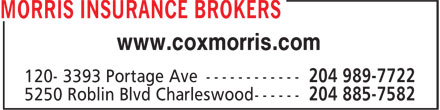 Morris Insurance Brokers (204-885-7582) - Display Ad - www.coxmorris.com