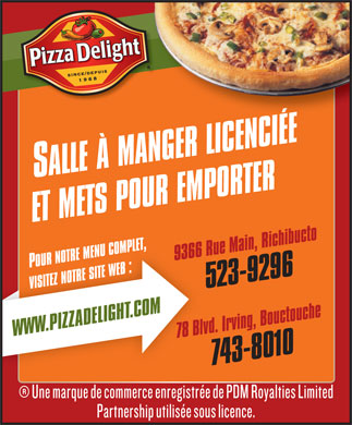 Pizza Delight (506-743-8010) - Annonce illustr&eacute;e