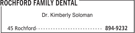 Rochford Family Dental (902-894-9232) - Annonce illustrée - Dr. Kimberly Soloman