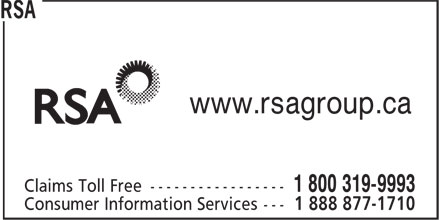 RSA (1-800-319-9993) - Display Ad - www.rsagroup.ca  www.rsagroup.ca