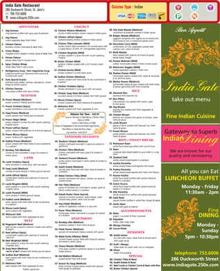 India Gate Restaurant (709-753-6006) - Menu