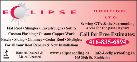 Eclipse Roofing (416-835-6894) - Annonce illustr&eacute;e - Bonded, Insured &amp; Metro Licensed