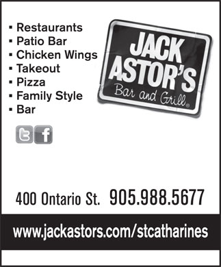 Jack Astor's Bar &amp; Grill (905-988-5677) - Annonce illustr&eacute;e