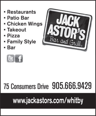 Jack Astors Bar & Grill (905-666-9429) - Display Ad