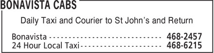 Bonavista Cabs (709-468-2457) - Display Ad - Daily Taxi and Courier to St John's and Return