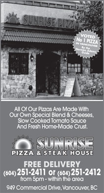 Sunrise Pizza & Steak House (604-251-2411) - Annonce illustrée - PIZZA & STEAK HOUSE