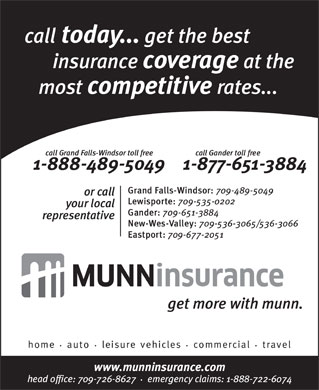 Munn Insurance (709-651-3884) - Annonce illustr&eacute;e