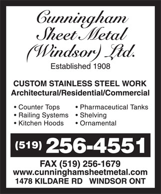 Cunningham Sheet Metal (Windsor) Ltd (519-256-4551) - Annonce illustrée