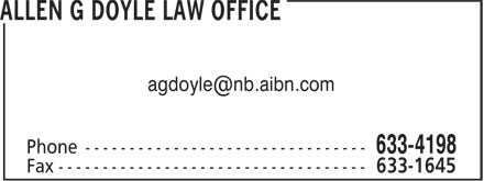 Allen G Doyle Law Office (506-633-4198) - Display Ad - agdoyle@nb.aibn.com