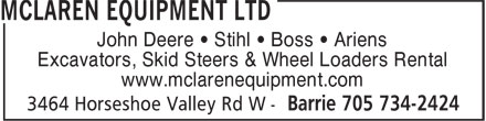 McLaren Equipment Ltd (705-734-2424) - Display Ad - John Deere • Stihl • Boss • Ariens Excavators, Skid Steers & Wheel Loaders Rental www.mclarenequipment.com