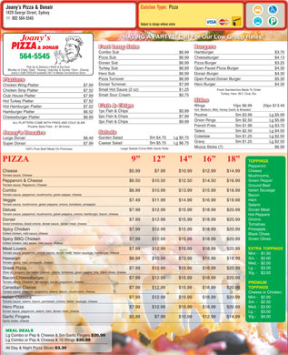 Joany's Pizza & Donair (902-564-5545) - Menu