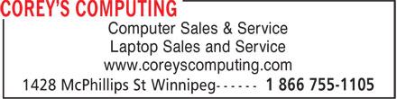 Corey's Computing (204-800-0376) - Display Ad - Computer Sales & Service Laptop Sales and Service www.coreyscomputing.com