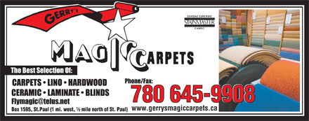 Gerry's Magic Carpets Ltd (780-645-9838) - Display Ad - 780 645-9908 www.gerrysmagiccarpets.ca
