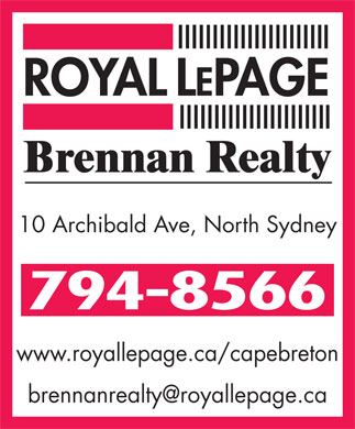 ROYAL LEPAGE BRENNAN REALTY (902-794-8566) - Annonce illustr&eacute;e - 10 Archibald Ave, North Sydney www.royallepage.ca/capebreton brennanrealty@royallepage.ca