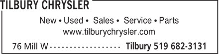 Tilbury Chrysler (1-888-265-7550) - Display Ad - New • Used • Sales • Service • Parts www.tilburychrysler.com  New • Used • Sales • Service • Parts www.tilburychrysler.com