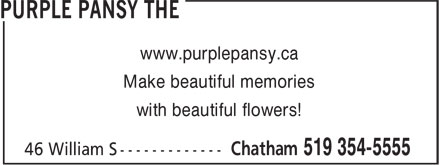 Purple Pansy The (519-354-5555) - Annonce illustrée - www.purplepansy.ca Make beautiful memories with beautiful flowers!