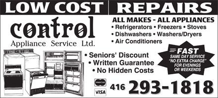 Control Appliance Service Ltd (416-293-1818) - Display Ad