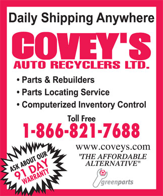 Covey's Auto Recyclers Ltd (1-866-821-7688) - Annonce illustr&eacute;e