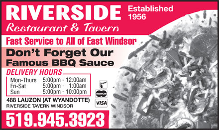 Riverside Tavern Windsor (226-315-1099) - Display Ad