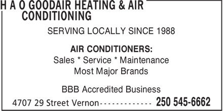 H A O Goodair Heating &amp; Air Conditioning (250-545-6662) - Annonce illustr&eacute;e - SERVING LOCALLY SINCE 1988 AIR CONDITIONERS: Sales * Service * Maintenance Most Major Brands BBB Accredited Business