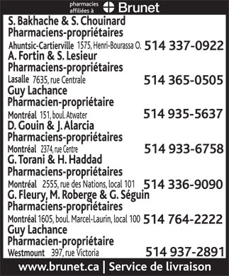 Brunet Pharmacies Affiliated (514-935-5637) - Annonce illustrée