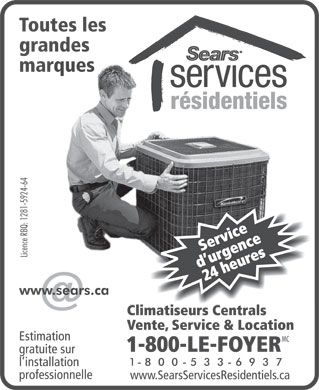 Sears Climatiseurs Centrals Vente Service & Location (1-800-533-6937) - Display Ad