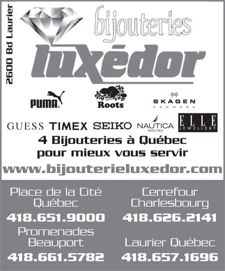 Bijouteries Luxedor Inc (581-700-1071) - Display Ad