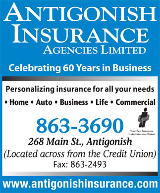 Antigonish Insurance Agencies Ltd (902-863-3690) - Annonce illustrée - Celebrating 60 Years in Business Personalizing insurance for all your needs