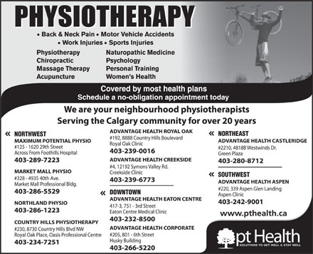 Maximum Potential Physiotherapy/Pt Health (403-289-7223) - Annonce illustr&eacute;e
