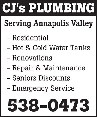 CJ's Plumbing (902-538-0473) - Annonce illustrée - CJ's PLUMBING Serving Annapolis Valley - Residential - Hot & Cold Water Tanks - Renovations - Repair & Maintenance - Seniors Discounts - Emergency Service 538-0473