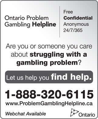 Ontario Problem Gambling Helpline (1-888-320-6115) - Annonce illustrée