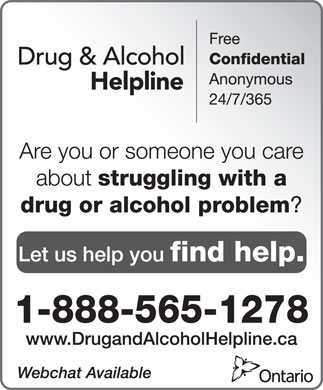 Drug and Alcohol Helpline (1-888-565-1278) - Annonce illustrée